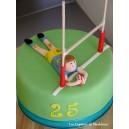 le gâteau rugby avec rugbyman