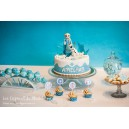 Sweet table La reine des neiges bleu et blanc