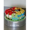 le gâteau rugby avec mêlée