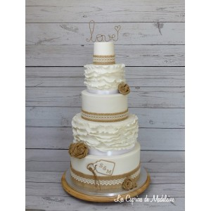 wedding cake blanc et jute