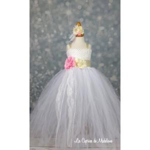 Robe tutu blanc fleurs et dentelle 8 ans